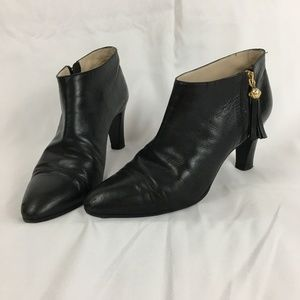 Chanel Leather Booties With Tassel CC Logo 37.5